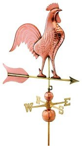 Large Polished Copper Barn Estate Rooster Weathervane