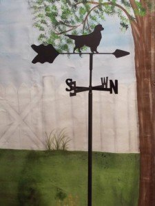 Garden style weather vane with golden retriever dog figure