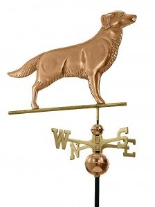 Weather vane of golden retriever made from polished copper