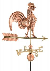 coper finished rooster wind vane