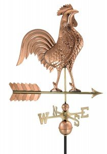 large rooster weathervane copper