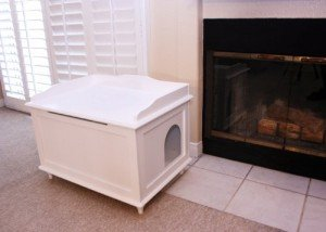 designer cat litter box enclosure in white
