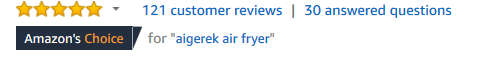Star ratings for the aigerek air fryer