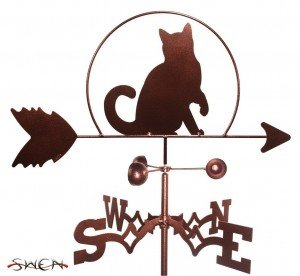 cat weather vane on a roof