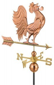 rooster that crowes on a weather vane made of polished copper