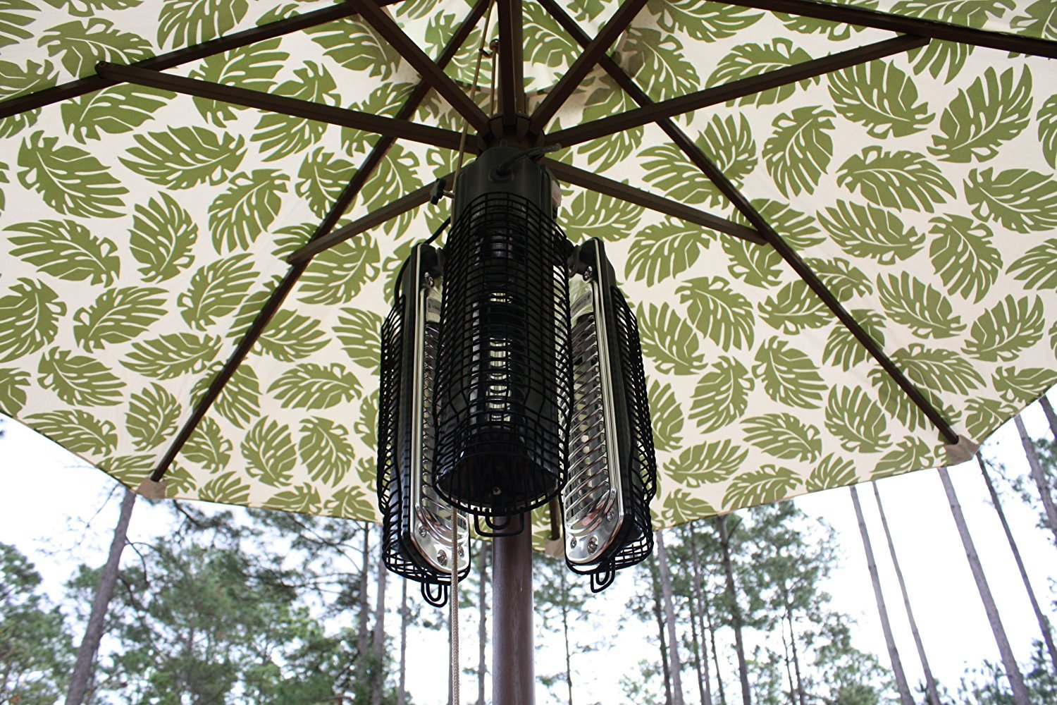 fire sense patio heater stored easy under the umbrella