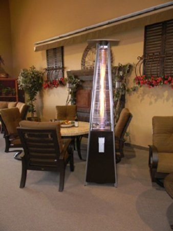 Pyramid patio heater installed