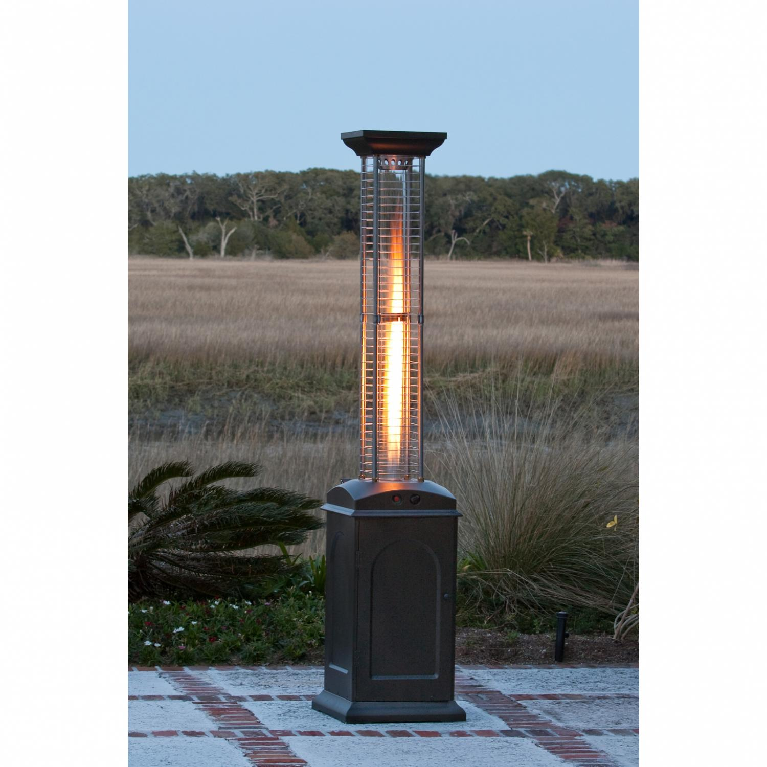 patio square fire bronze hammered products sense ham cutout finish heater flame