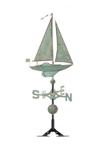 copper sailboat weather vane in copper or verdigris color.